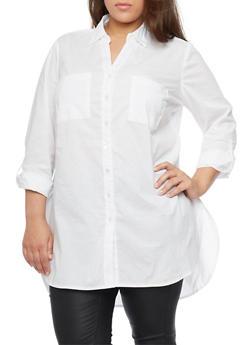Plus Size High Low Button Up Boyfriend Tunic - 1803056125906