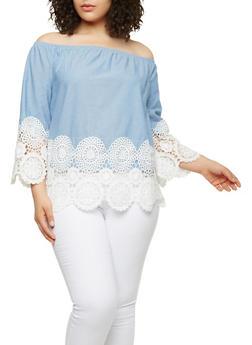 Plus Size Crochet Trim Off the Shoulder Top - 1803056126436
