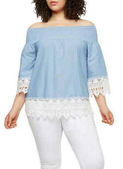 Plus Size Crochet Trim Off the Shoulder Top - 1803056126437