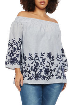 Plus Size Striped Floral Embroidered Off the Shoulder Top - 1803056126465
