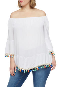Plus Size Off the Shoulder Top with Multicolored Tassel Trim - 1803056129872