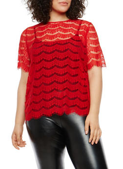 Plus Size Lace Top with Back Zipper - 1803058750021