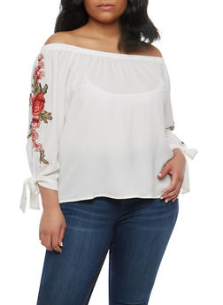 Plus Size Rose Patch Off the Shoulder Top - 1803058750372