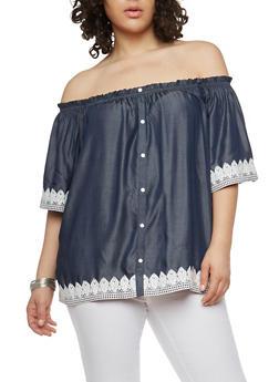 Plus Size Off the Shoulder Crochet Trim Top - 1803058750548