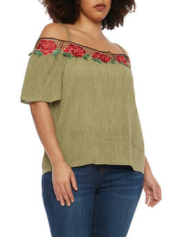 Plus Size Rose Patch Trim Off the Shoulder Top - 1803058750549