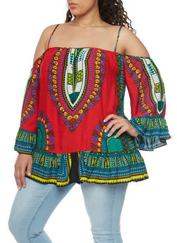 Plus Size Cold Shoulder Dashiki Print Top with Ruffle Hem - 1803058750945