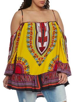 Plus Size Cold Shoulder Dashiki Print Top with Ruffle Hem - 1803058750945
