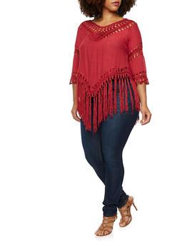 Plus Size Top with Crochet V Neck and Fringe Hem - 1803058751051