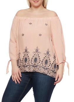Plus Size Off the Shoulder Embroidered Top with Tie Sleeves - 1803058751063