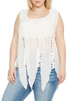 Plus Size Crochet Top with Jagged Hem - 1803058751152