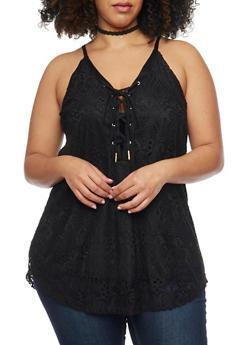Plus Size Crochet Lace Up Tank Top - BLACK - 1803058751462