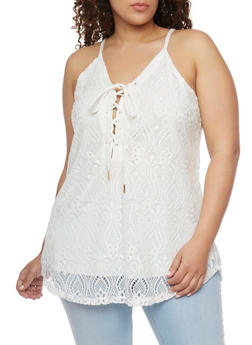 Plus Size Crochet Lace Up Tank Top - IVORY - 1803058751462