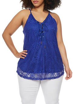 Plus Size Crochet Lace Up Tank Top - RYL BLUE - 1803058751462