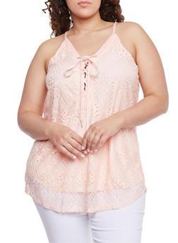 Plus Size Crochet Lace Up Tank Top - BLUSH - 1803058751462