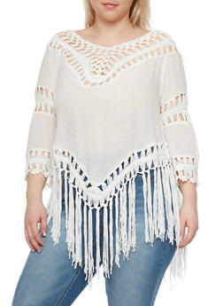Plus Size 3/4 Sleeve Crochet Fringe Top - 1803058751520