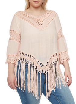 Plus Size 3/4 Sleeve Crochet Fringe Top - BLUSH - 1803058751520
