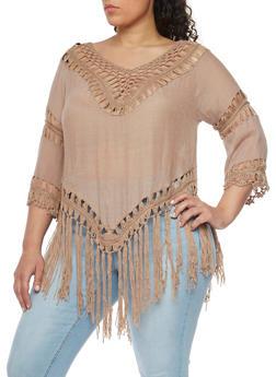 Plus Size 3/4 Sleeve Crochet Fringe Top - 1803058751520