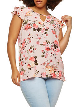 Plus Size Floral Flutter Sleeve Top - 1803058751574
