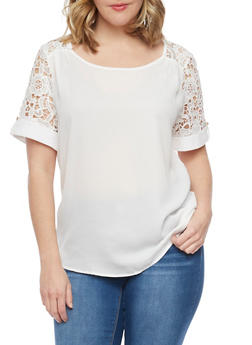 Plus Size Solid Top with Crochet Tab Sleeves - IVORY - 1803058751671