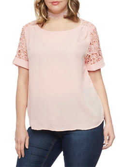 Plus Size Solid Top with Crochet Tab Sleeves - BLUSH - 1803058751671