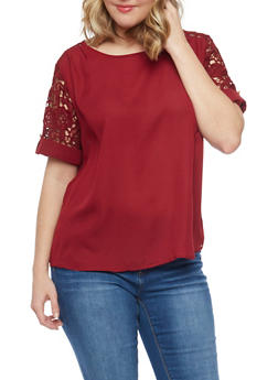 Plus Size Solid Top with Crochet Tab Sleeves - 1803058751671