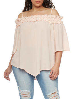 Plus Size Cold Shoulder Asymmetrical Top with Crochet Neckline - 1803058751726