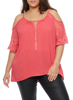 Plus Size Cold Shoulder Lace Sleeve Top with Necklace - 1803058751738