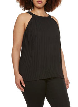 Plus Size Pleated Tank Top with Back Zipper - 1803058751758