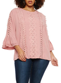 Plus Size Crochet Detail Bell Sleeve Blouse - 1803058751881