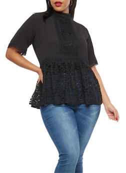 Plus Size Lace Hem Peplum Top - BLACK - 1803058752027