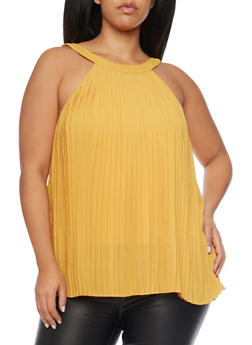 Plus Size Swing Pleated Tank Top - MUSTARD - 1803058752733