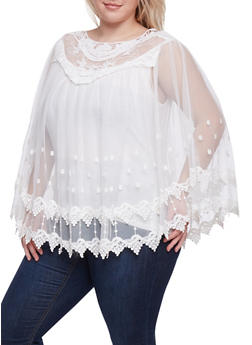 Plus Size Mesh Poncho Top with Crochet Paneling - 1803058753682