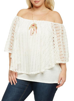 Plus Size Top with Crochet Overlay and Necklace - 1803058754671