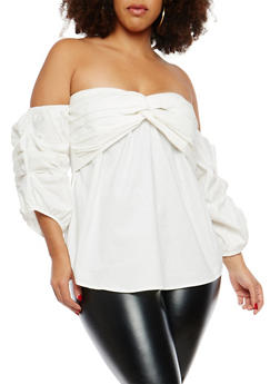Plus Size Pleated Front Off the Shoulder Top - 1803058755066