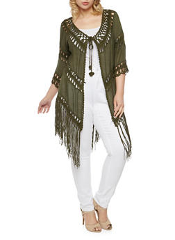 Plus Size Fringe Crochet Cardigan with Tie Front - OLIVE - 1803058755421