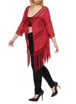 Plus Size Fringe Crochet Cardigan with Tie Front - 1803058755421