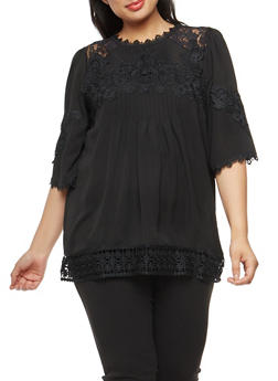 Plus Size Crepe Knit Pleated Blouse with Lace Shoulder Detail - 1803058755764