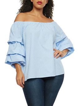 Plus Size Off the Shoulder Tiered Sleeve Top - 1803058755765