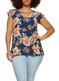 Plus Size Floral Crepe Knit Top - 1803058755775