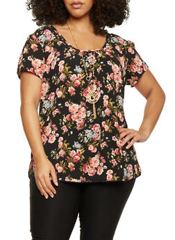 Plus Size Short Sleeve Floral Scoop Neck Top - 1803058756307