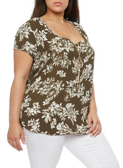 Plus Size Short Sleeve Floral Print Top with Necklace - 1803058756308