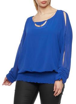 Plus Size Cold Shoulder Blouse with Necklace - 1803058756365