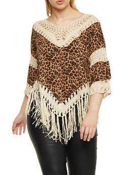 Plus Size Leopard Print Top with Crochet Trim - 1803058756450