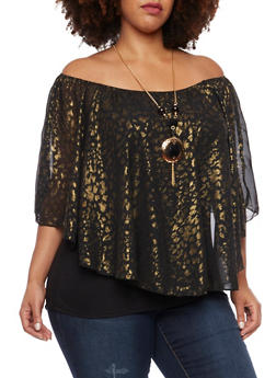 Plus Size Flutter Top in Leopard Foil Print with Necklace - 1803058756454