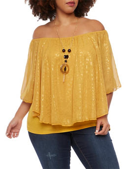 Plus Size Flutter Top in Leopard Foil Print with Necklace - MUSTARD - 1803058756454