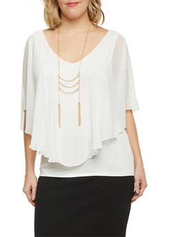 Plus Size Chiffon Overlay Top and Necklace - IVORY - 1803058756713