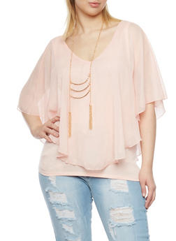 Plus Size Top with Chiffon Overlay and Necklace - BLUSH - 1803058756713