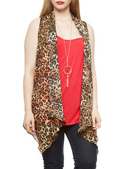 Plus Size Top with Leopard Print Cardigan and Detachable Necklace,RED,medium