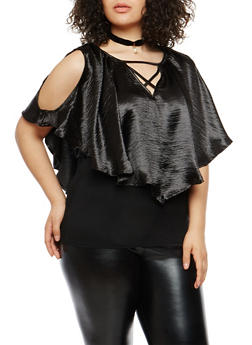 Plus Size Satin Overlay Caged Neck Top - 1803058758927