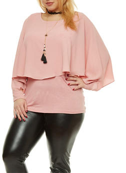 Plus Size Crepe Knit Overlay Top with Necklace - 1803058759732